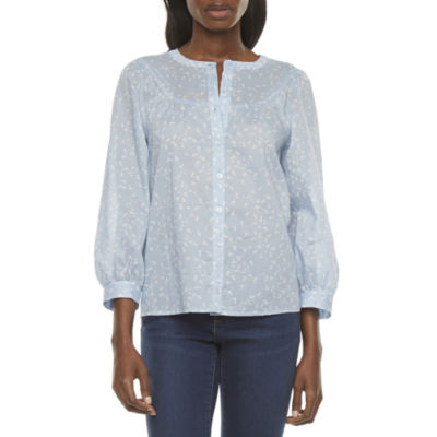 a.n.a Womens Henley Neck 3/4 Sleeve Blouse