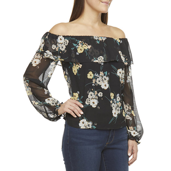 a.n.a Womens Straight Neck Long Sleeve Blouse
