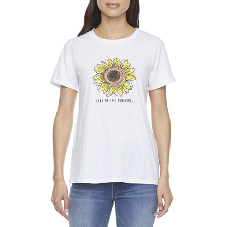 St. John's Bay Womens Crew Neck Short Sleeve T-Shirt, Medium , White