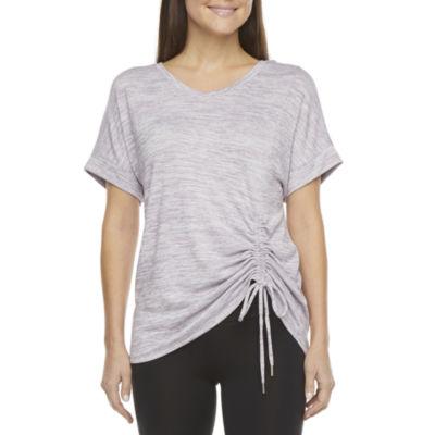 Stylus Shirred Side Womens V Neck Short Sleeve T-Shirt