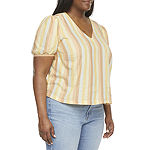 a.n.a-Plus Womens V Neck Short Sleeve Blouse