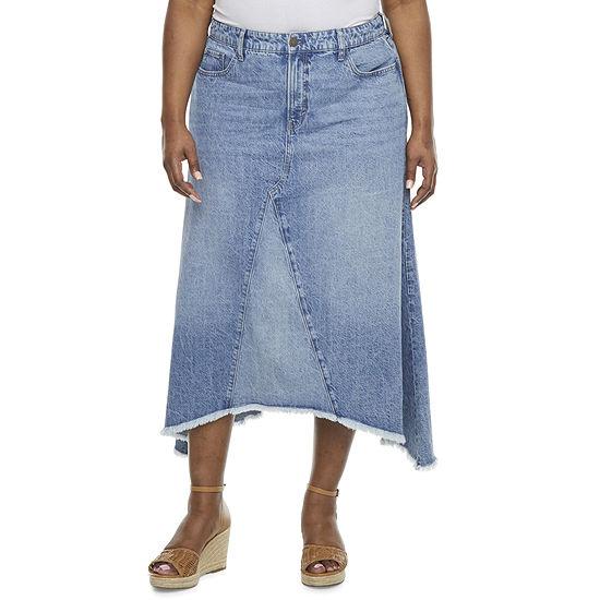 a.n.a Womens Mid Rise High Low Denim Skirt-Plus