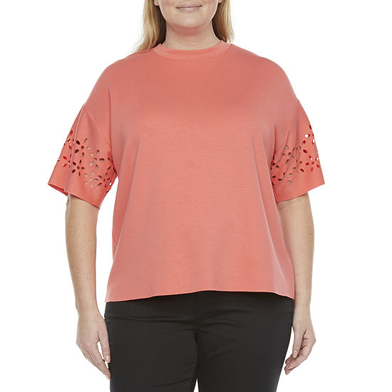 Worthington Womens Plus Crew Neck Elbow Sleeve T-Shirt
