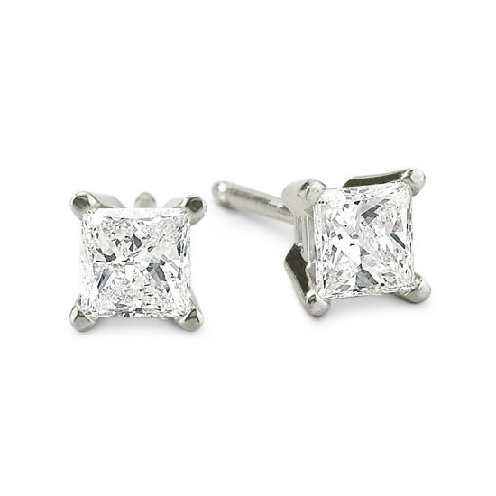 1/2 CT. T.W. Princess-Cut Diamond 14K White Gold Stud Earrings