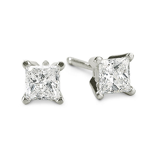 1 2 Ct T W Princess Cut Diamond 14k White Gold Stud Earrings