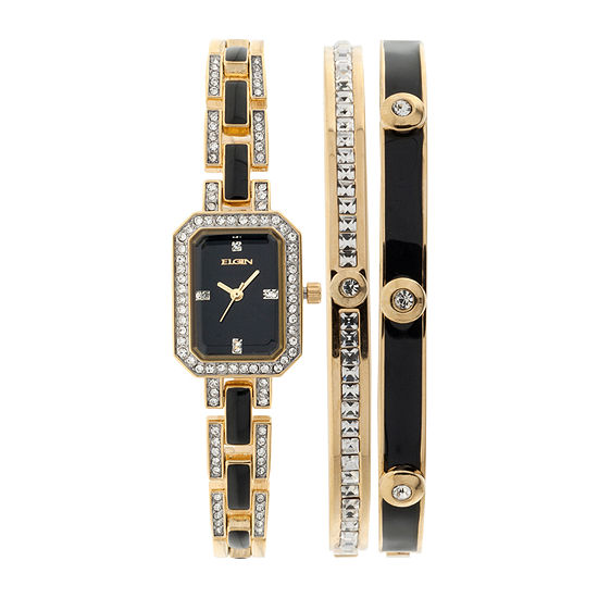 Elgin® Womens Black Gold-Tone Watch and Bracelet Set