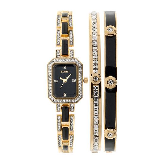 Elgin® Womens Black Gold-Tone Watch and Bracelet Set