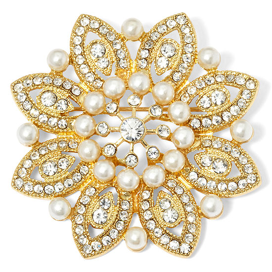 Monet® Gold-Tone Crystal and Simulated Pearl Snowflake Pin