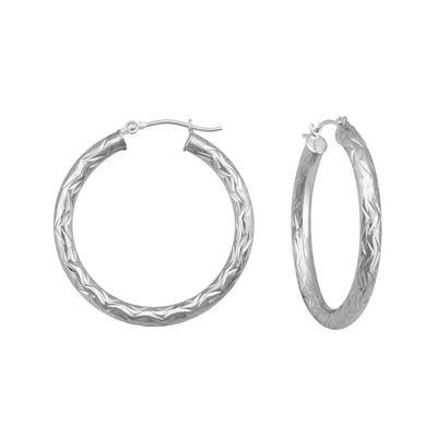14K White Gold Textured Hoop Earrings