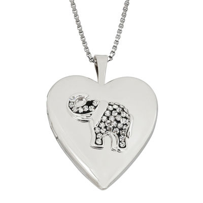 Heart Crystal Sterling Silver Elephant Locket Pendant Necklace