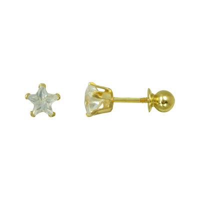 Girls 14K Gold Cubic Zirconia Star Stud Earrings