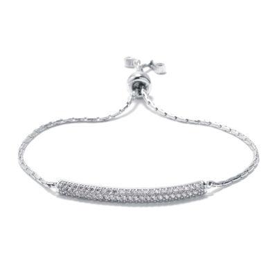 Cubic Zirconia Sterling Silver Bar Slide Bracelet