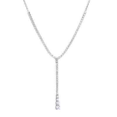 Cubic Zirconia Sterling Silver Y- Necklace