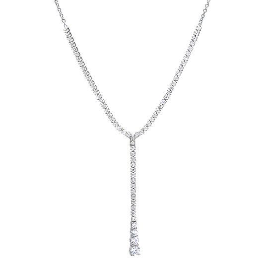 Cubic Zirconia Sterling Silver Y Necklace
