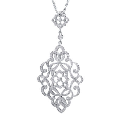 Cubic Zirconia Sterling Silver Filigree Marquis Pendant Necklace