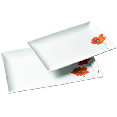 Tabletops Gallery® 2-pc. Rectangular Platter Set - Poppy