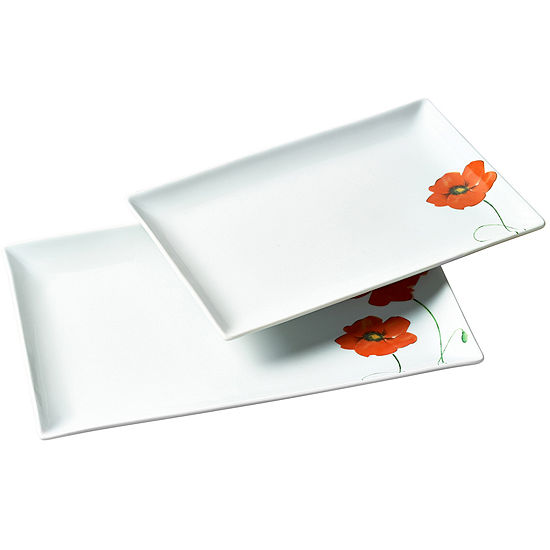 Tabletops Gallery 2 Pc Rectangular Platter Set Poppy