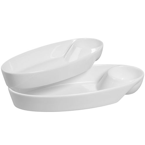 Denmark® Set of 2 Oval Chip and Dip Servers