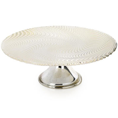 Footed White with Wavy Silver Cake Stand