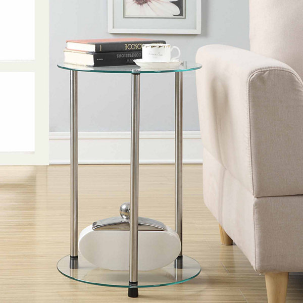 Donovan 2-Tier Round Glass End Table