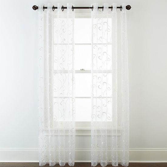 Royal Velvet Plaza Embroidery Grommet-Top Sheer Curtain Panel
