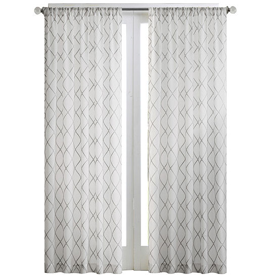 Madison Park Iris Diamond Sheer Rod-Pocket Single Curtain Panel