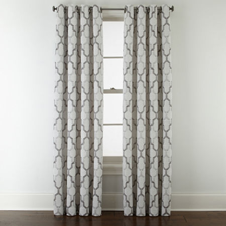 JCPenney Home Casey Jacquard Light-Filtering Grommet-Top Single Curtain Panel, One Size , Gray