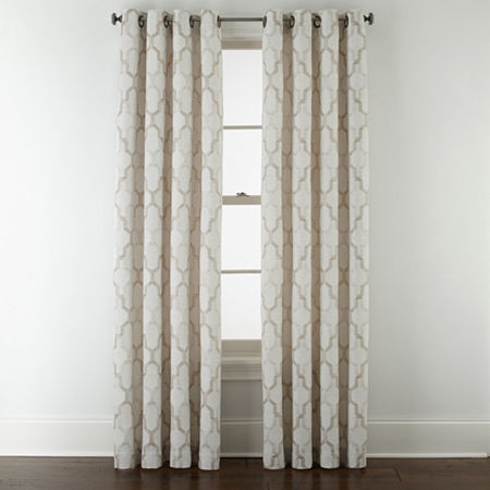 JCPenney Home Casey Jacquard Light-Filtering Grommet-Top Single Curtain Panel, One Size , Beige