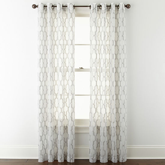 JCPenney Home Casey Sheer Sheer Grommet-Top Single Curtain Panel