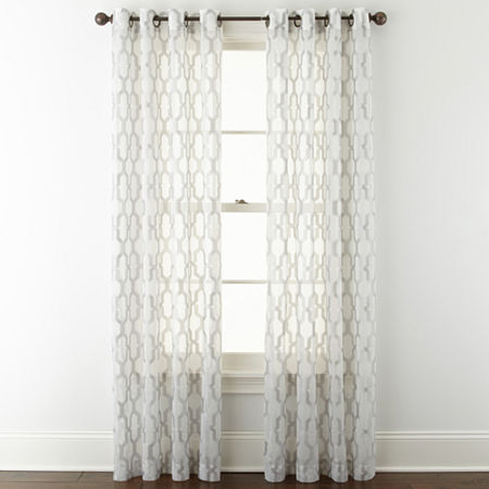 JCPenney Home Casey Sheer Sheer Grommet-Top Single Curtain Panel, One Size , Gray