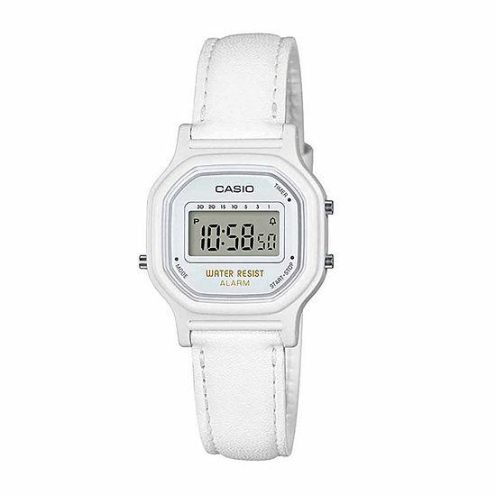 Casio Womens Digital White Strap Watch-La11wl-7a