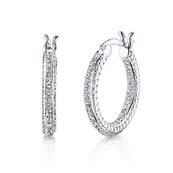 Sparkle Allure White Crystal Hoop Earrings