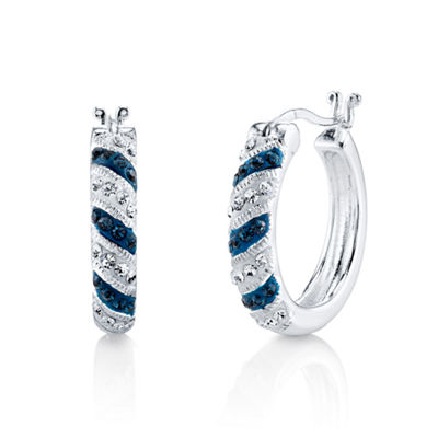 Sparkle Allure Blue Hoop Earrings