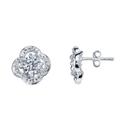 Sparkle Allure White Flower Stud Earrings