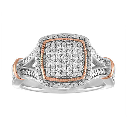 Womens 1/10 CT. T.W. Genuine White Diamond Sterling Silver & 14K Rose Gold Over Silver Cocktail Ring