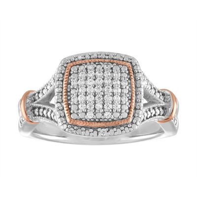 Fine Jewelry Womens 1/10 CT. T.W. Genuine White Diamond Sterling Silver & 14K Rose Gold Over Silver Cocktail Ring OX7IC2E