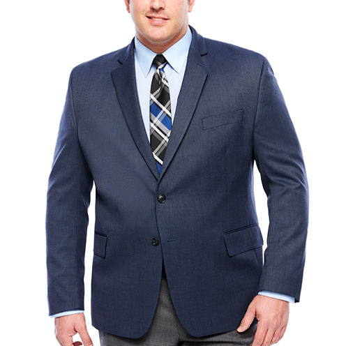 Stafford Year-Round Blue Tic Sport Coat-Big and Tall