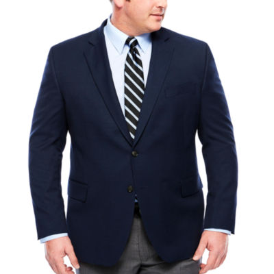 Stafford Yearround Med Blue Boxweave Sport Coat-Big and Tall