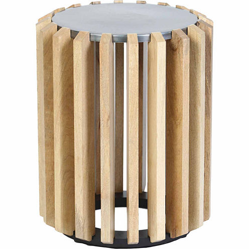 Wooden Plank Drum Chairside Table