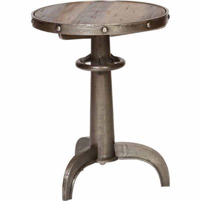 Metal With Wood Insert Chairside Table