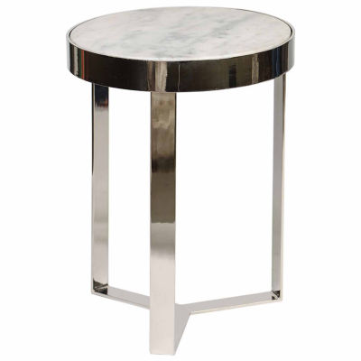 Contemporary Metal And Stone Chairside Table