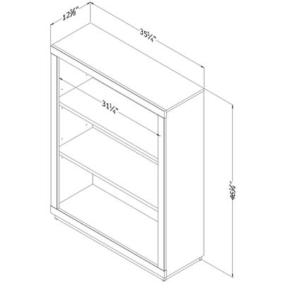 Kanji 3-Shelf Bookcase