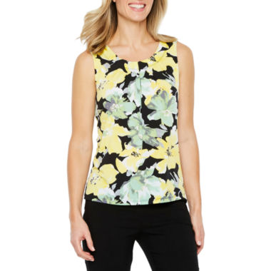 Black Label by Evan-Picone Sleeveless Floral Blouse