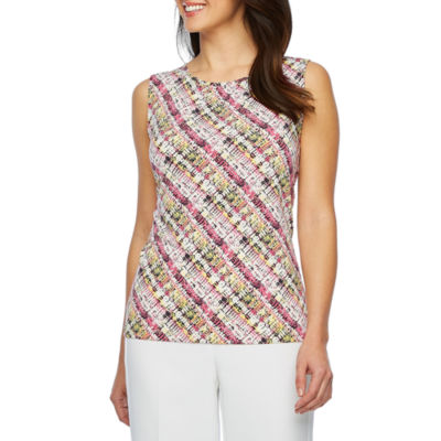 Chelsea Rose Sleeveless Abstract Print Blouse