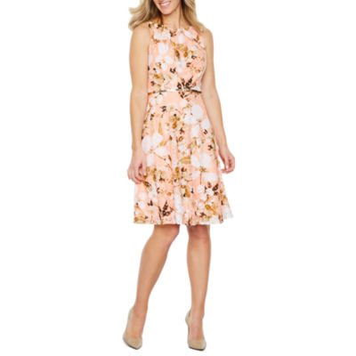 Black Label by Evan-Picone Sleeveless Floral Lace Fit & Flare Dress