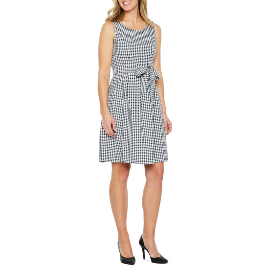 Black Label by Evan-Picone Sleeveless Gingham Fit & Flare Dress