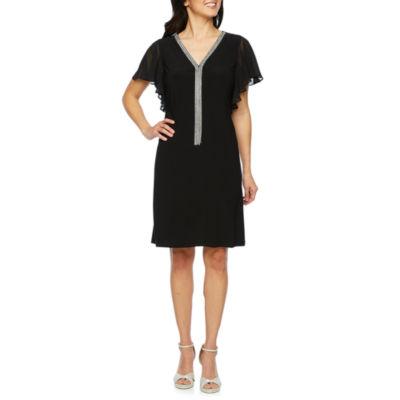 MSK Short Sleeve Embellished Sheath Dress
