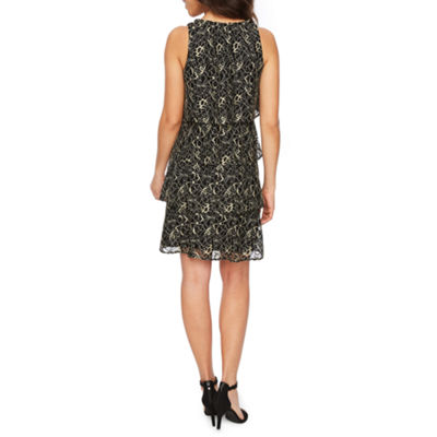 J Taylor Sleeveless Lace Tiered Sheath Dress