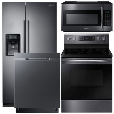 Samsung 4-pc Electric Kitchen Package - Black Stainless