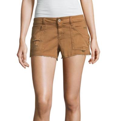 "Arizona 2 1/2"" Lace Up Denim Shorts-Juniors"